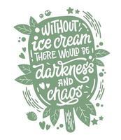 illustration monochrome avec lettrage de crème glacée vecteur