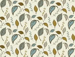 motif floral sans couture avec des feuilles dessinées à la main vecteur
