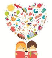 concept d'imagination, garçon et fille lisant un livre objets s'envolant vecteur