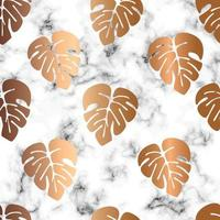 Conception de texture de marbre de vecteur modèle sans couture avec des feuilles de monstera dorées, surface de persillage noir et blanc, fond luxueux moderne, illustration vectorielle