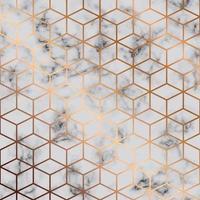 Texture de marbre de vecteur, modélisme sans couture avec fond géométrique cubes dorés vecteur