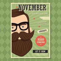 conception d'affiche de novembre sans rasage avec homme hipster avec barbe et moustache vecteur