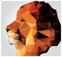 tête de lion polygone géométrique, motif triangle vecteur
