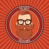 conception d'affiche de novembre sans rasage, sensibilisation au cancer de la prostate, homme hipster avec barbe et moustache vecteur