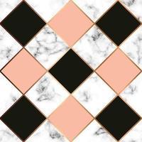 Texture de marbre de vecteur, modélisme sans couture avec des lignes géométriques dorées, surface marbrée noir et blanc, fond luxueux moderne vecteur