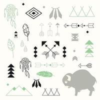 collection de symboles amérindiens avec mignon bébé buffle et capteur de rêves vecteur