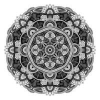 mandala ethnique floral noir et blanc, sur fond blanc vecteur