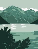 art de l'affiche du lac de l'Alaska