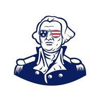 Washington portant mascotte de lunettes de soleil drapeau usa vecteur