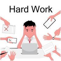 une photo surmenée montre un homme occupé assis et travaillant sur un ordinateur portable tandis que d'autres lui donnent plus d'emplois vecteur