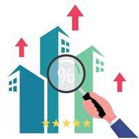 Entreprise immobilière dispose d'une main tenant une loupe pour rechercher une propriété ou une maison à vendre offrant un retour sur investissement élevé vecteur