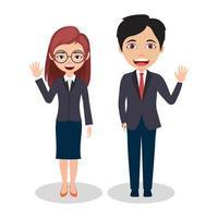 couple, homme affaires, et, femme affaires, caractères, porter, tenue affaires, et, onduler vecteur