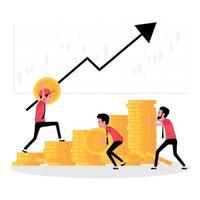 une caricature montrant la croissance de l'entreprise et le travail d'équipe vecteur
