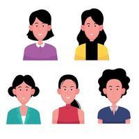 un jeu de personnages de dessins animés de femmes daffaires vecteur