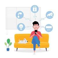 Photo de maison intelligente mettant en vedette un homme assis sur un canapé jaune tout en contrôlant un appareil électrique à partir du téléphone vecteur