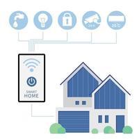 L'image de la maison intelligente comprend un téléphone avec signal sans fil commandant les appareils électriques de la maison vecteur