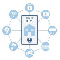 L'image de la maison intelligente comporte un téléphone au milieu du cercle avec des icônes d'appareils électriques vecteur
