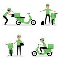 ensemble, de, homme, livrer colis, à, a, scooter vecteur