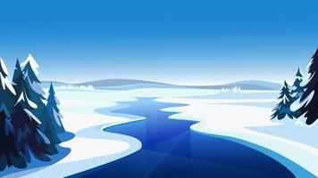 paysage avec rivière gelée.