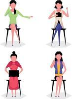 Un jeu de caractères de dessin animé de femme travaillant assis sur une chaise et utilisant un ordinateur portable vecteur