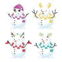 bonhomme de neige coloré portant bonnet et écharpe