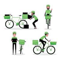 L'homme livre un colis avec vélo vecteur