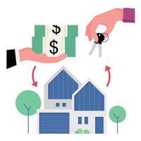 conclusion de l'achat d'une maison avec une photo de l'échange d'espèces avec clé vecteur