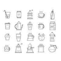 un ensemble de tasse à café et de boissons vecteur