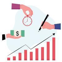 plan d'investissement montrant une horloge et un billet vecteur