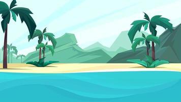 côte de l'océan avec palmiers et montagne. vecteur