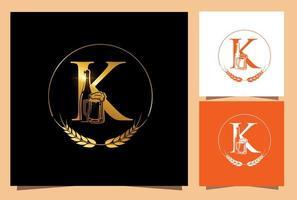 verre et bouteille bière monogramme lettre k vecteur