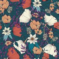 modélisme sans couture avec fleurs dessinées à la main et éléments floraux vecteur