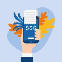 hand holding dataphone avec feuilles vector design