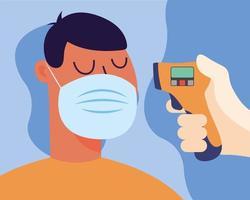 Main tenant un pistolet thermomètre vérifiant la conception de vecteur de température homme