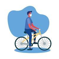 homme avec masque médical sur la conception de vecteur de vélo