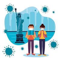 femme et homme avec masque à new york city vector design