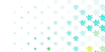 toile de fond de vecteur bleu clair et vert avec symboles de virus