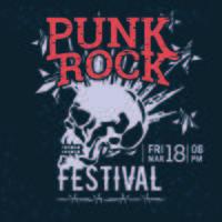 Affiche de Hipster Punk Rock Festival avec des éclairs de crâne et des étoiles Starburst vecteur