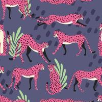 modèle sans couture avec des guépards roses exotiques dessinés à la main