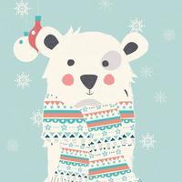 carte postale joyeux noël avec ours blanc polaire portant un foulard vecteur