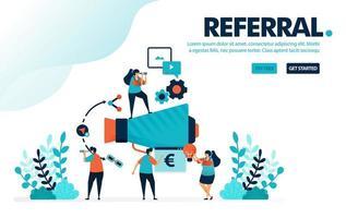 programme de référence d'illustration vectorielle. les gens rejoignent des programmes de référence pour le marketing et la promotion. référer un ami avec un mégaphone. Conçu pour la page de destination, le web, la bannière, le mobile, le modèle, le dépliant, l'affiche