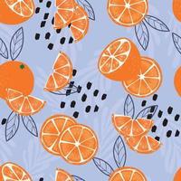 modèle sans couture de fruits, oranges avec feuilles et éléments abstraits