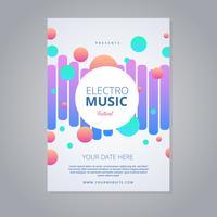 flyer festival de musique electro vecteur