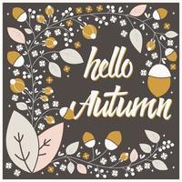 conception de cartes automne avec cadre floral et message de typographie vecteur