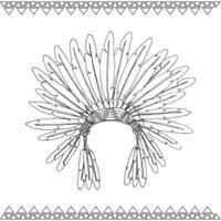 coiffe de chef indien amérindien dessiné à la main vecteur