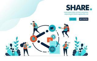 part d'illustration vectorielle. les gens partagent des liens, des vidéos, des documents et du contenu sur les réseaux sociaux. partager des informations utiles avec un ami. Conçu pour la page de destination, le web, la bannière, le mobile, le modèle, le dépliant, l'affiche vecteur