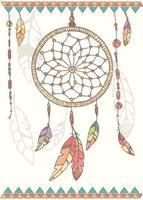 attrape-rêves amérindien dessiné à la main, perles et plumes vecteur