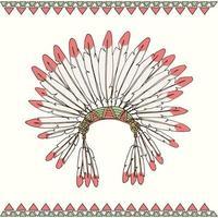 coiffe de chef indigène amérindienne dessinée à la main vecteur