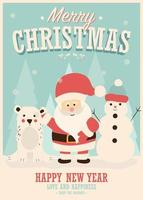 joyeux noël carte avec le père noël, bonhomme de neige et renne, paysage d'hiver vecteur