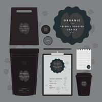 Image de marque de café avec logo de café attaché prêt à l'emploi vecteur